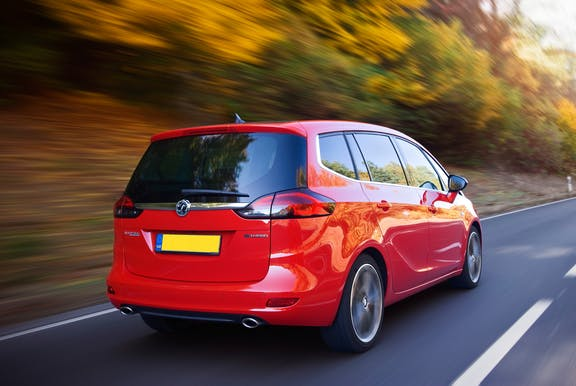 The exterior of a red Vauxhall Zafira Tourer