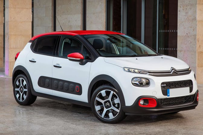 The exterior of a white Citroen C3