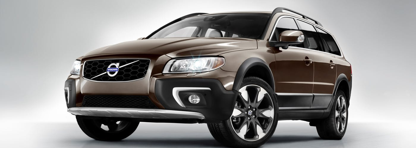 The exterior of a gold Volvo XC70