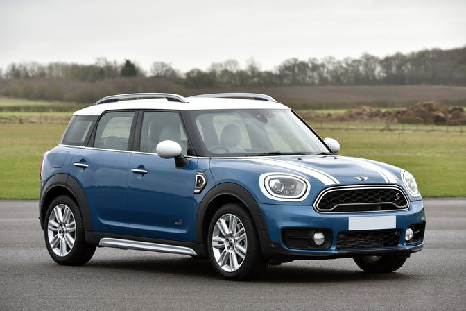 The exterior of a blue Mini Countryman