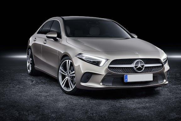 The exterior of a silver Mercedes A-Class