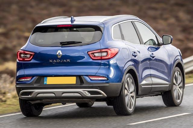 The rear exterior of a blue Renault Kadjar