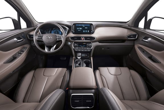 Interior shot of the Hyundai Santa Fe