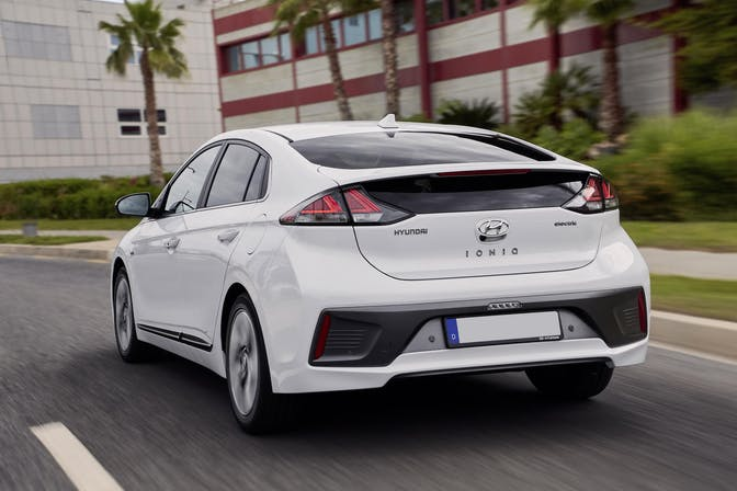 The exterior of a white Hyundai Ioniq