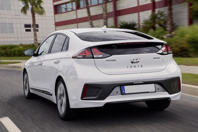 The exterior of a white Hyundai Ioniq