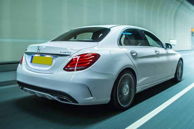 The exterior of a white Mercedes C-Class