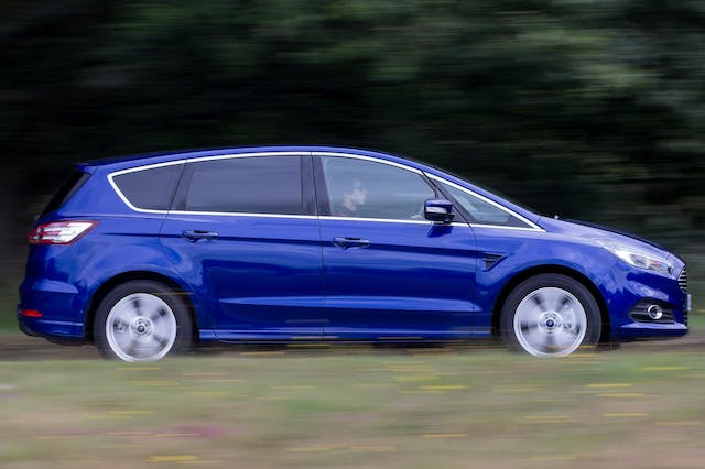 The exterior of a blue Ford S-Max