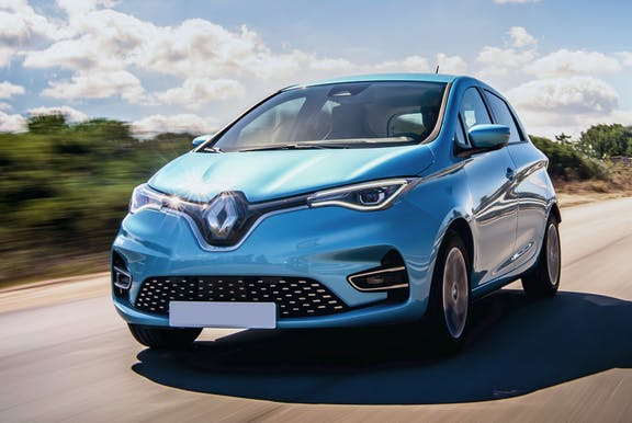 The front exterior of a blue Renault Zoe