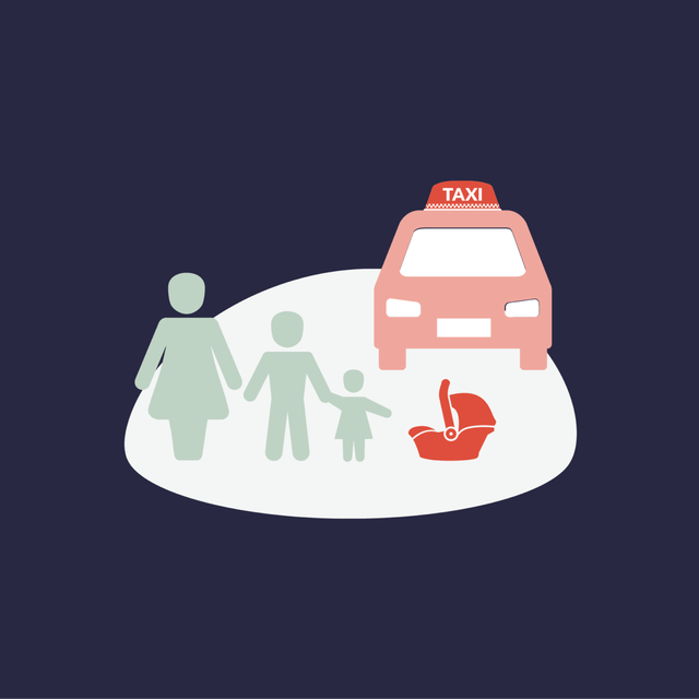 Mother and children next to a taxi