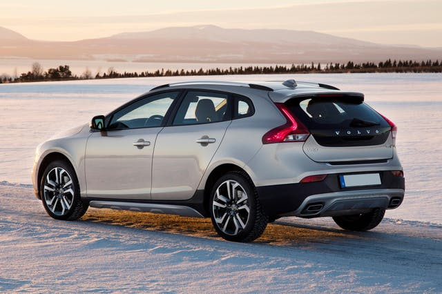 The exterior of a silver Volvo V40