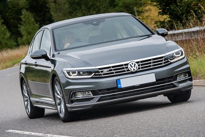 The exterior of a silver Volkswagen Passat