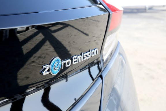 Badge shot of the Nissan Leaf