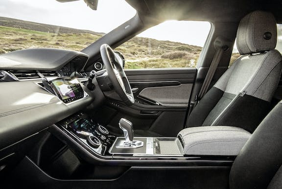 Front seat shot of the Range Rover Evoque