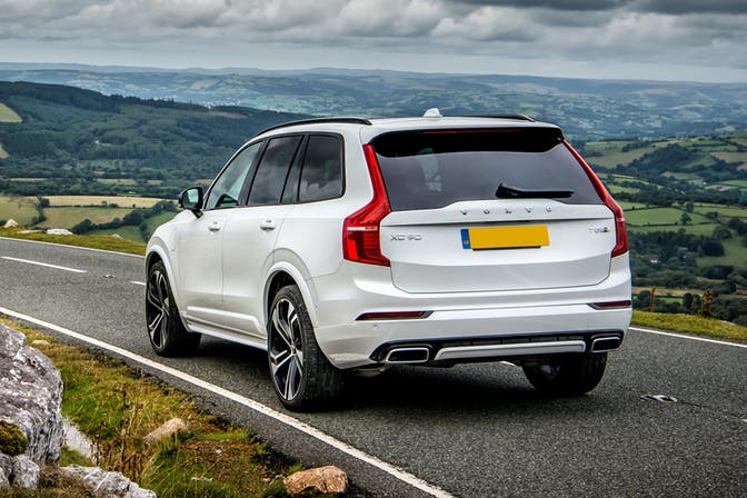 The rear exterior of a white Volvo XC90