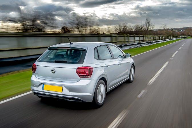 The rear exterior of a silver Volkswagen Polo