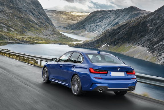 The exterior of a blue BMW 3 Series