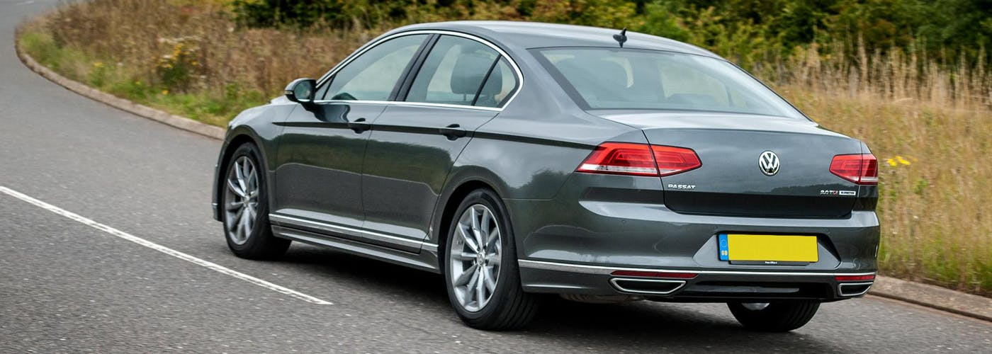The rear exterior of a silver Volkswagen Passat