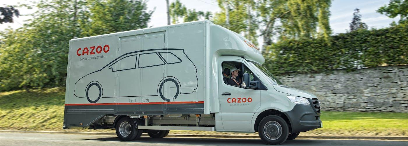 Moving Cazoo car transporter