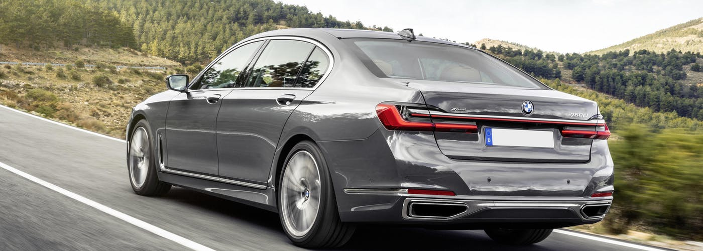 The rear exterior of a silver BMW 7 Series