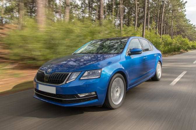 The exterior of a blue Skoda Octavia