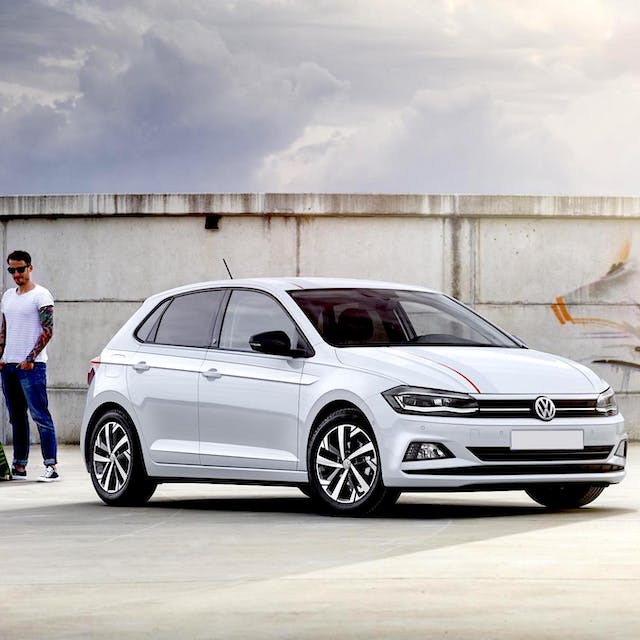 The front exterior of a Volkswagen Polo