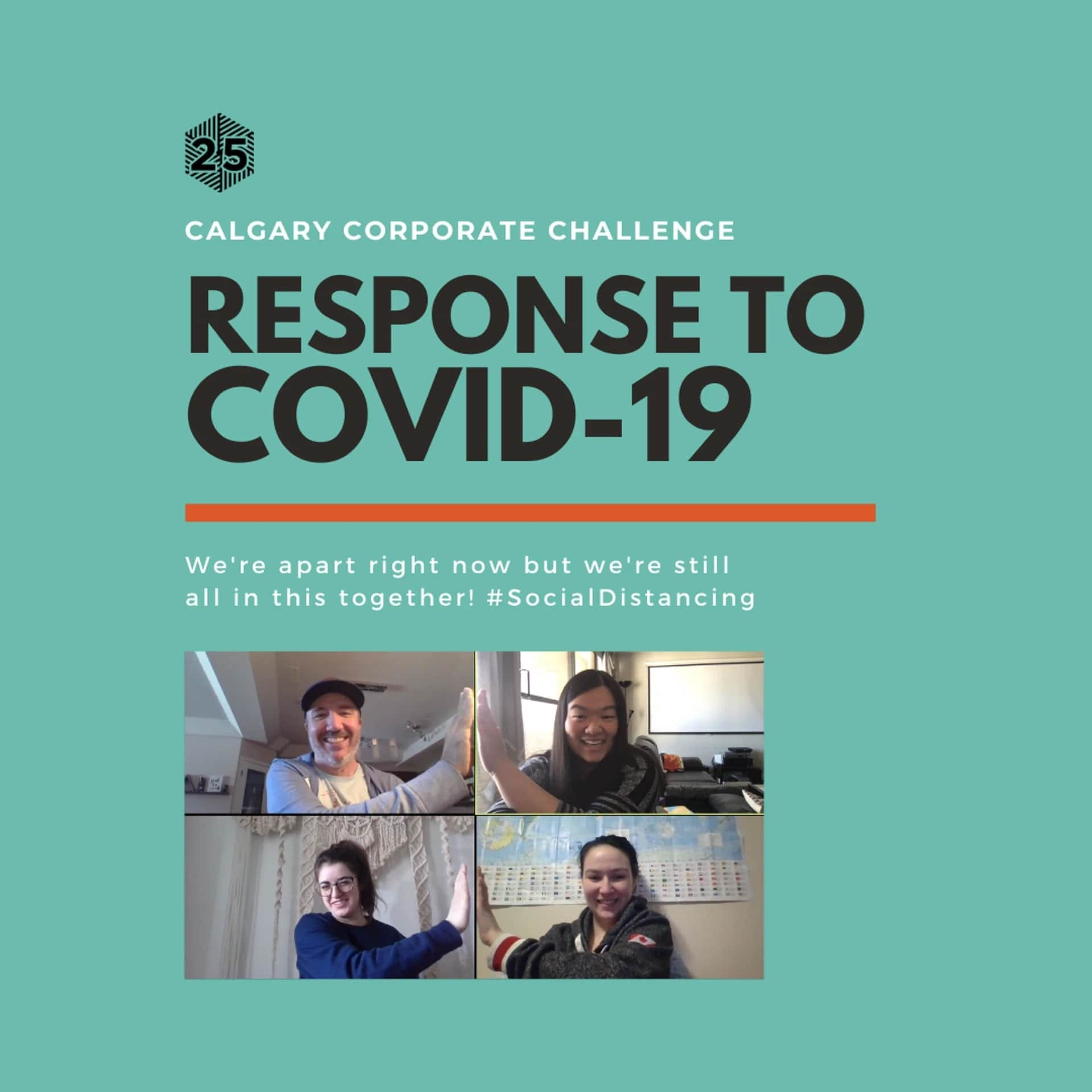 'Calgary Corporate Challenge's Response to COVID-19' on teal background