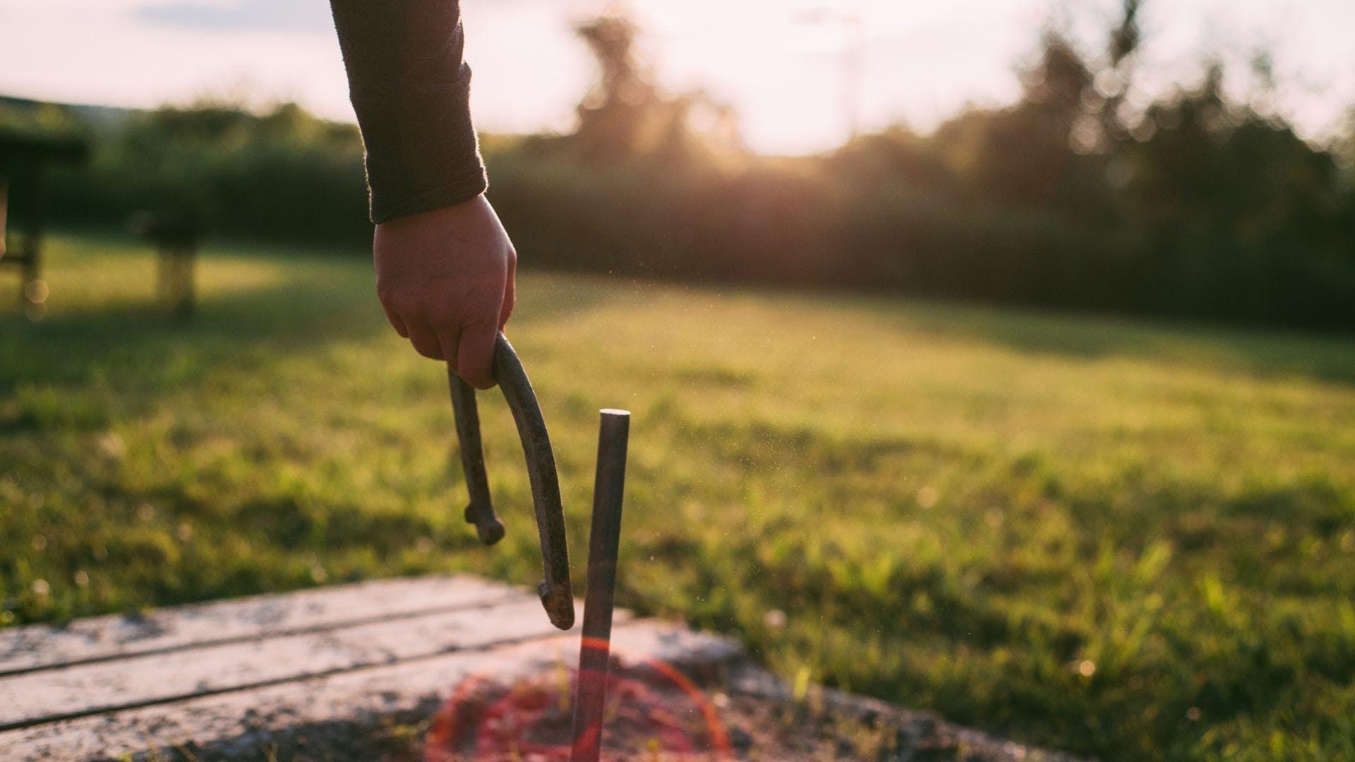 A hand holding a horseshoe
