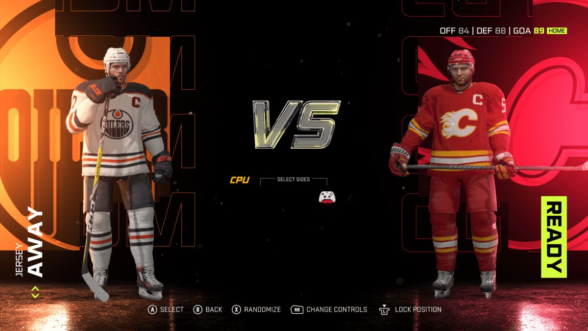 A screengrab from nhl 21  that features the video game character captains of the edmonton oilers and calgary flames