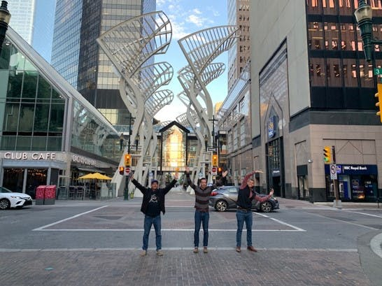 Three men on Stephen Ave