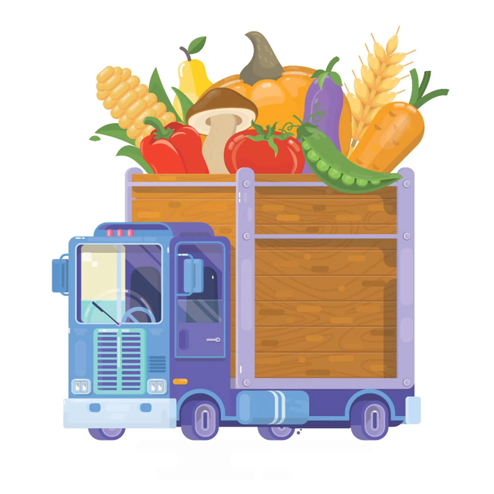 Picture of a truck carrying food
