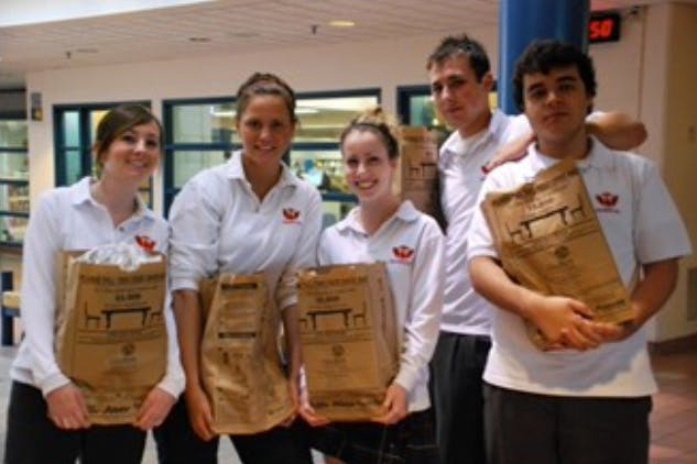 Students Donating Bags of Food