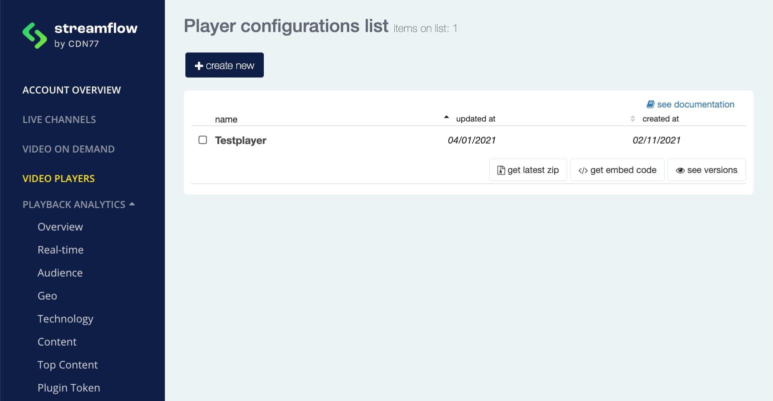 Player configuration list