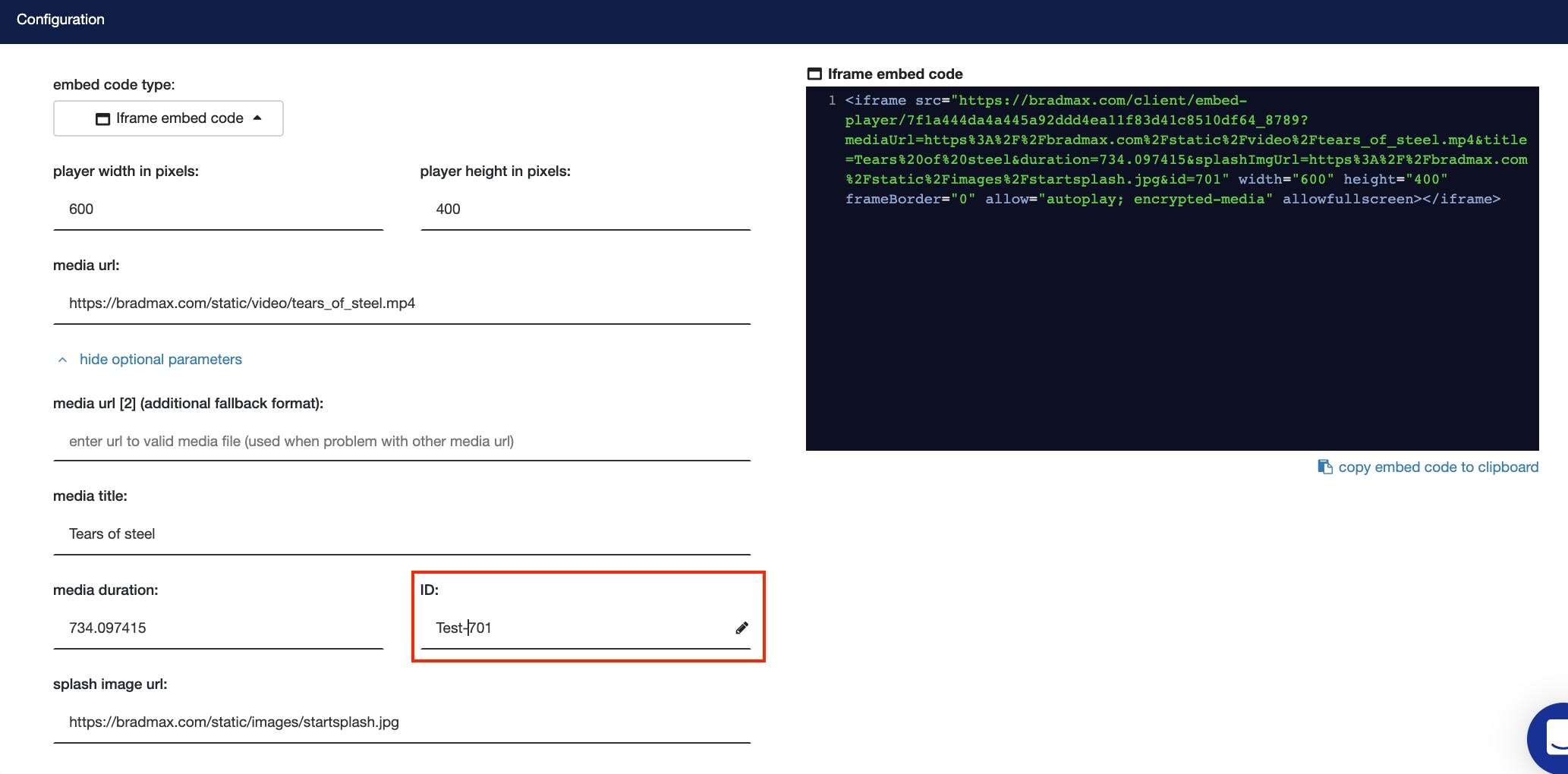 Media id in brad embed code generator