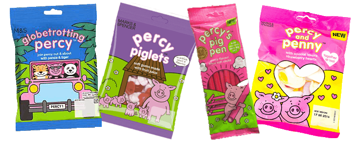 Examples of Percy Pig's ever-expanding range of confectionery.