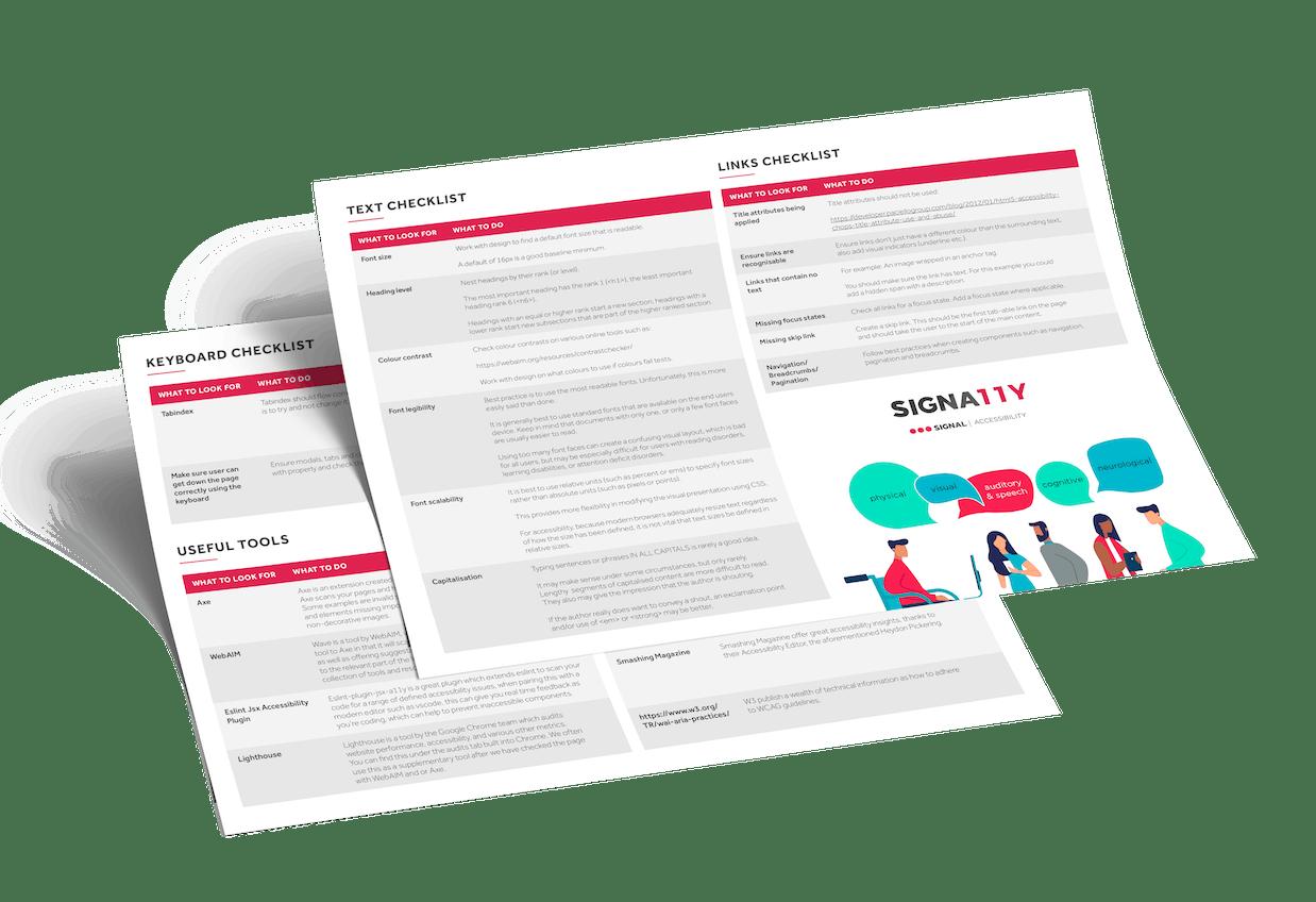 Signal's accessibility checklist