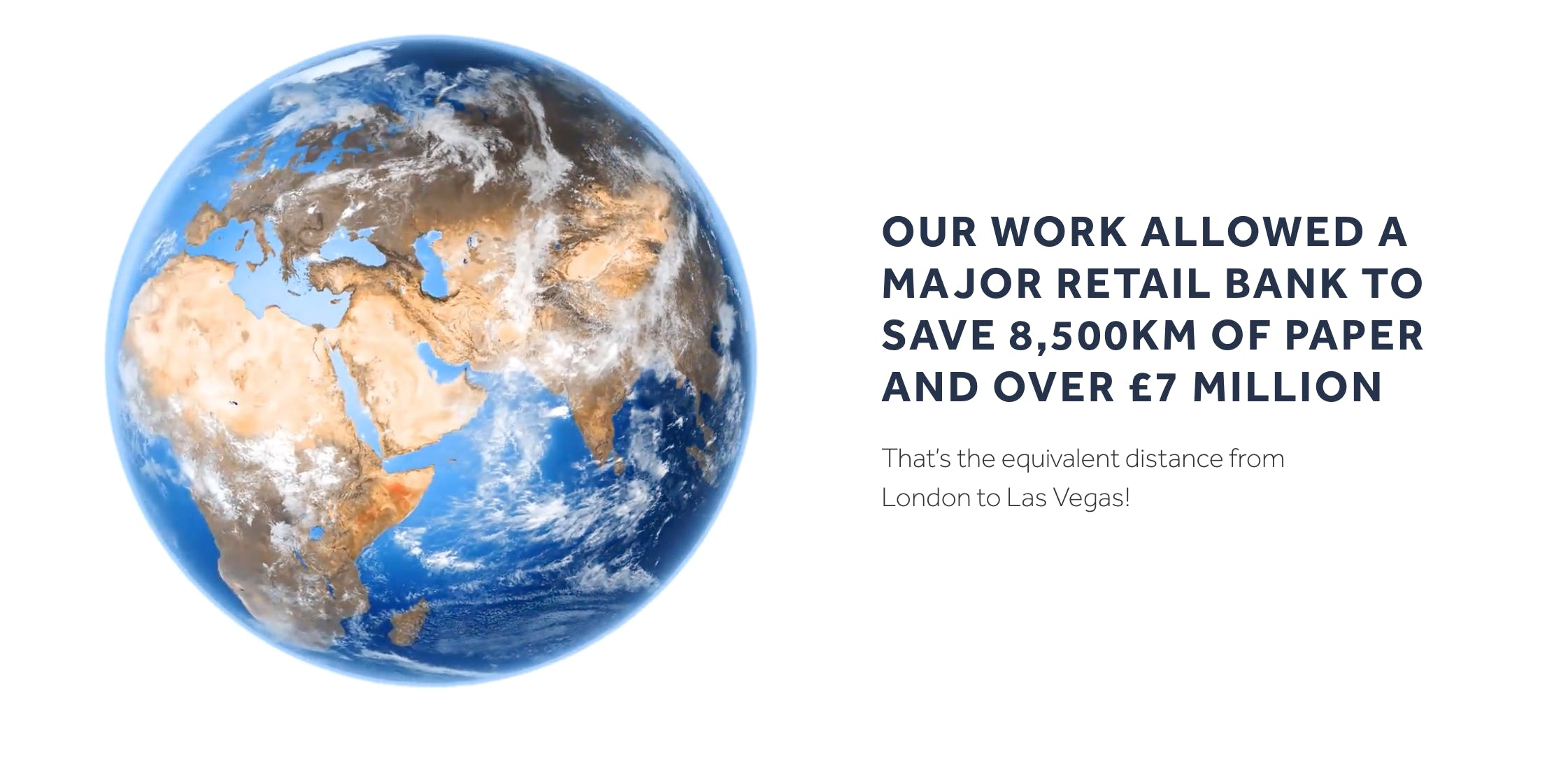 Our work allowed a major retail bank to save 8,500km of paper and over £7million.