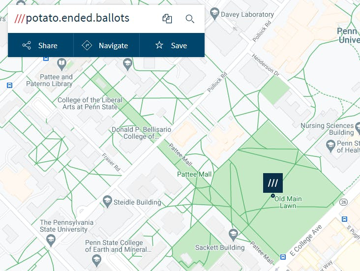 The what3words location (potato.ended.ballots) of Old Main Lawn, University Park, PA, 16902.