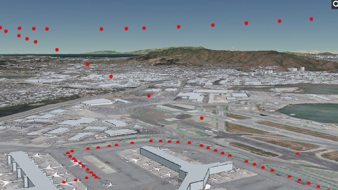 Actual flight path shown as red dots in the air above San Francisco airport