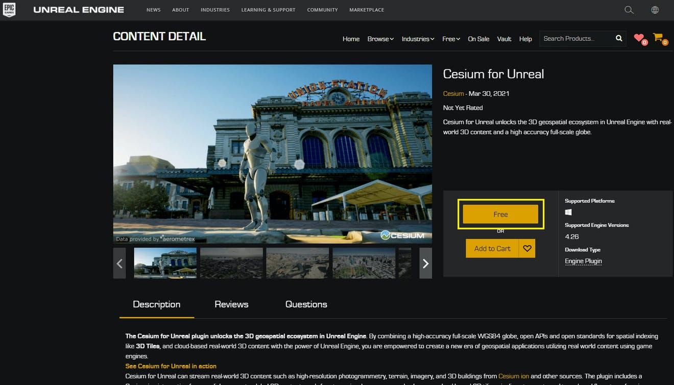 A screenshot of Cesium for Unreal in the Unreal Engine marketplace.