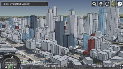 Cesium OSM Buildings seen in a sandcastle with a drop down for Color by Building Material and other styling options