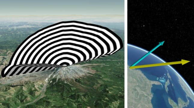 Black and white fan over a mountain on the globe, illustrating the ability to visualize additional static and dynamic 3D shapes such as vectors and fans for azimuth-elevation masks in Cesium.