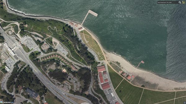 Satellite imagery of the San Francisco shoreline