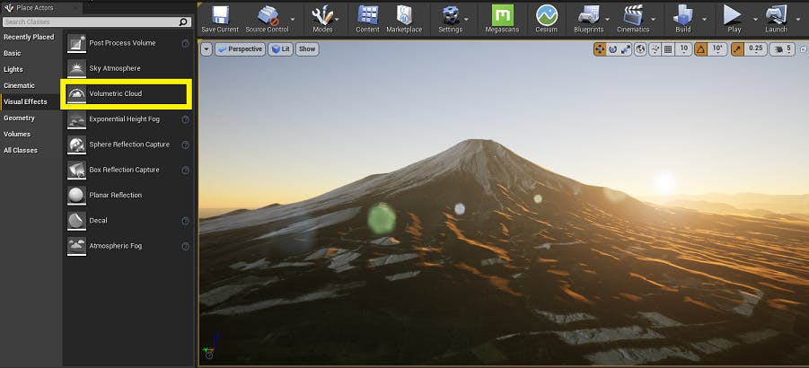 UE Editor with Volumetric Cloud highlighted
