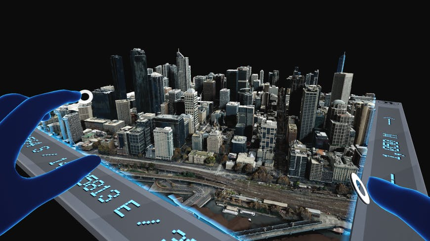 Aerometrex data of Melbourne, Australia in Project Anywhere XR, developed by Cesium, Epic Games, Microsoft, and NVIDIA