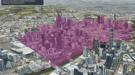 Screenshot of Cesium Stories presentation mode, showing a section of a city highlighted in purple to demonstrate feature picking.