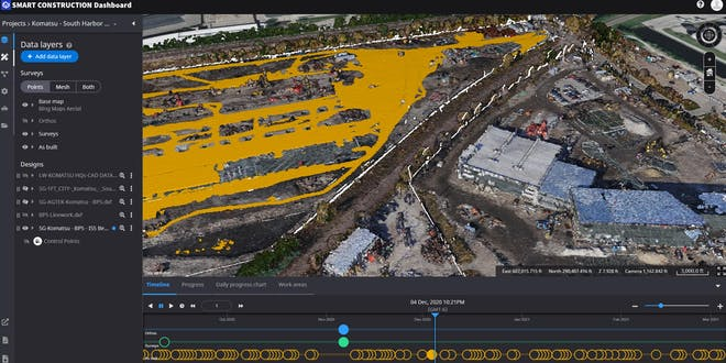 Smart Construction user interface showing construction site change over time on a timeline