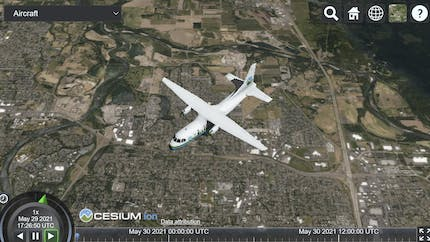 The Cesium airplane model seen from above in a sandcastle with a drop down to select a Cesium 3D model to display