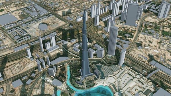Burj Khalifa, Dubai in Cesium OSM Buildings