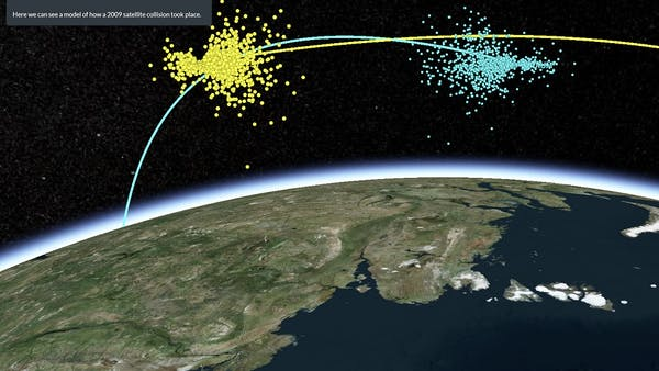 Screenshot of Cesium Stories showing a visualization of a satellite collision above the globe. Satellite paths are shown in yellow and blue and debris from the collision is represented by blue and yellow dots.