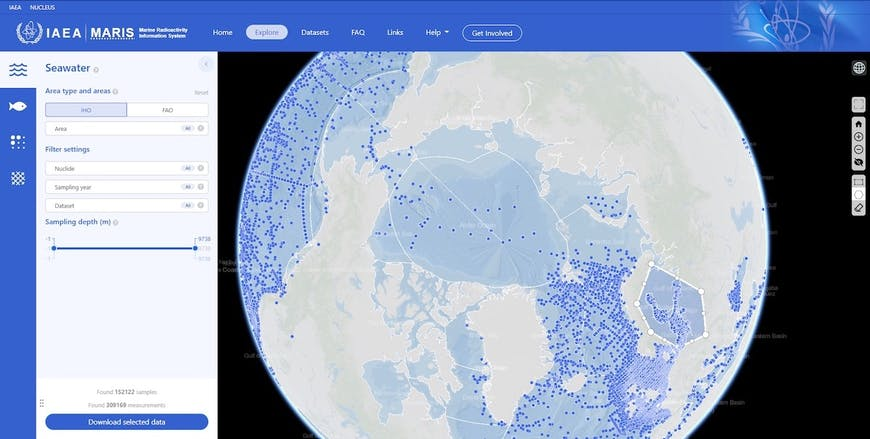 A screenshot of the Maris web site, showing the globe centered on the Artic with blue dots in water to represent locations of seawater samples, and a form for filtering what's displayed. An irregular shape covering part of northern Europe has been selected by the user.